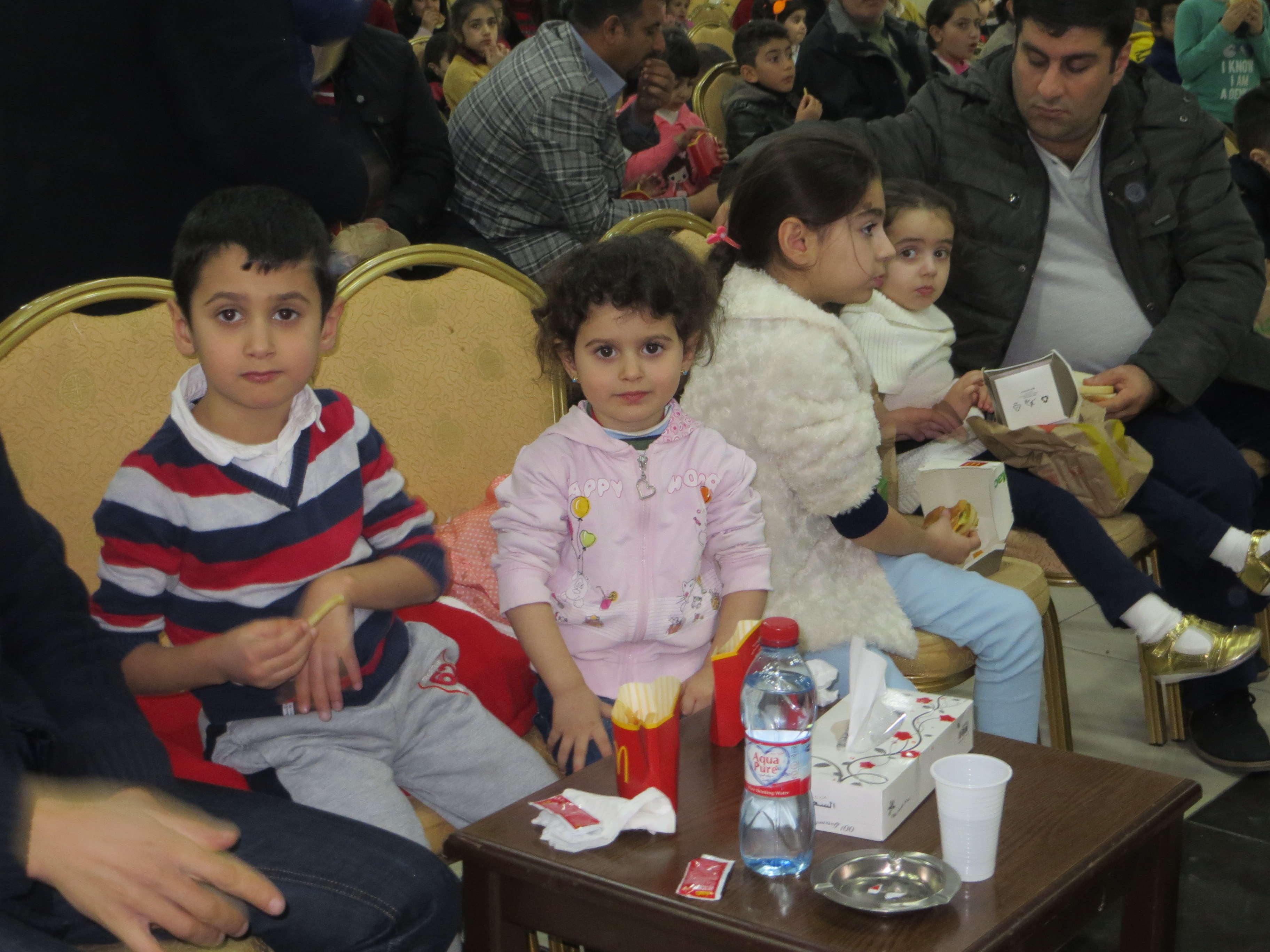 Snack time for Christian refugees