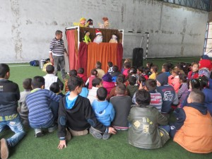 A puppet show as used to explain the purpose of the coming of the Jesus Christ